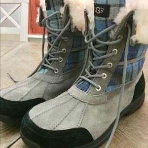 UGG Butte Blue Surf Plaid Gray Men's Boots Size 11
